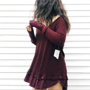 FREE PEOPLE • Burgundy waffle knit oversized tunic